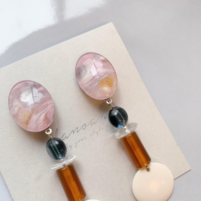 """ Earrings NO.danoan-58″ マーブルペイント×イタリアパーツ"
