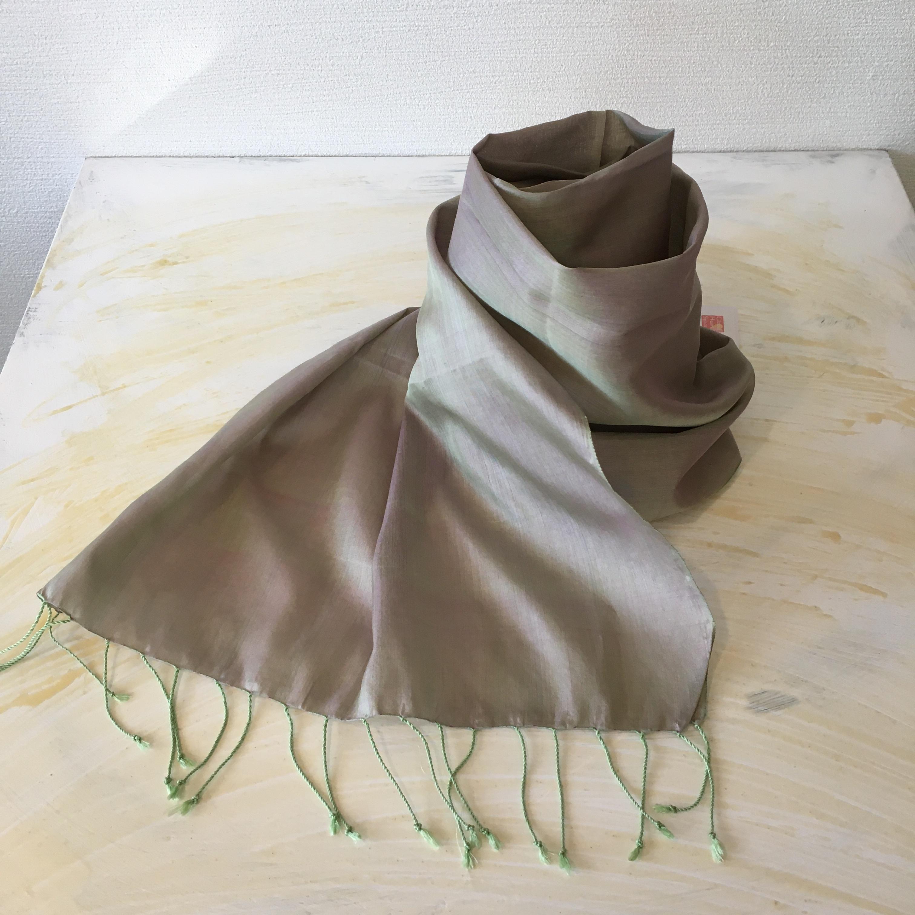 浅緑色カンボジアシルクショール