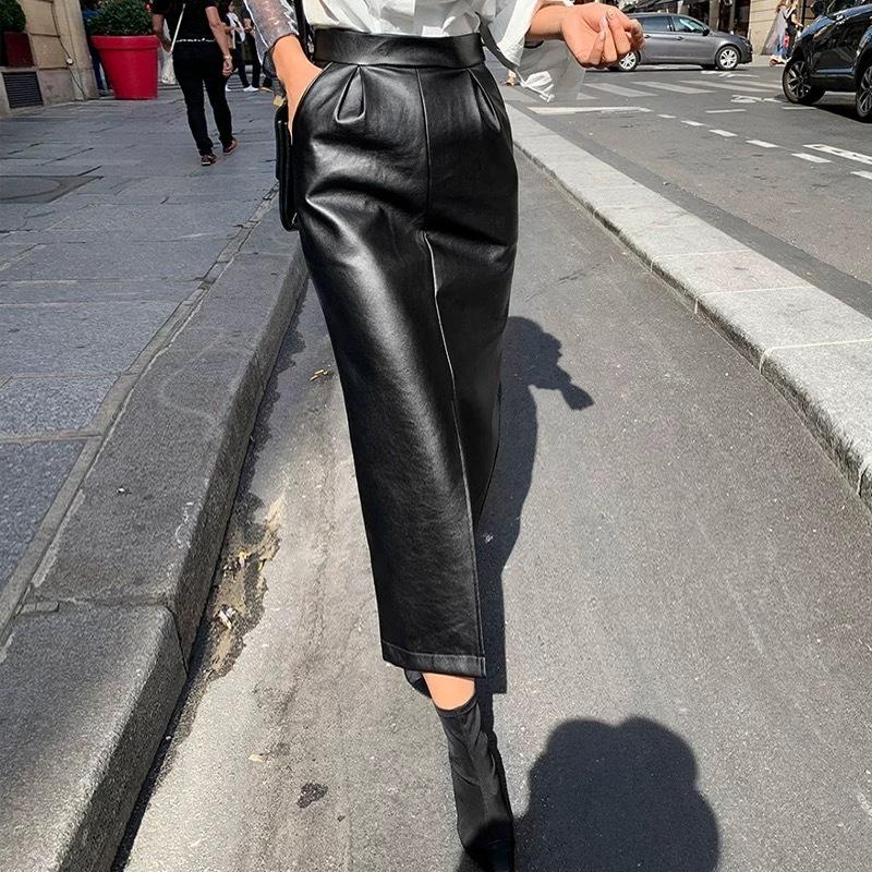 cut leather long skirt