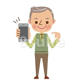 イラスト素材:スマートフォンを持つおじいちゃん(ベクター・JPG)