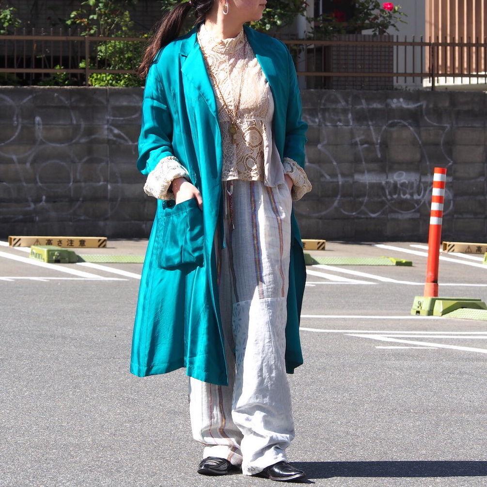 【hippiness】cupro coat(E.Green)/【ヒッピネス】キュプラ コート(エメラルドグリーン)
