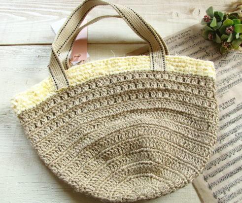 麻の丸底バッグ*手編み/sakura