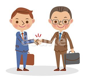 イラスト素材:握手をするビジネスマン/若い男性と中年の男性(ベクター・JPG)