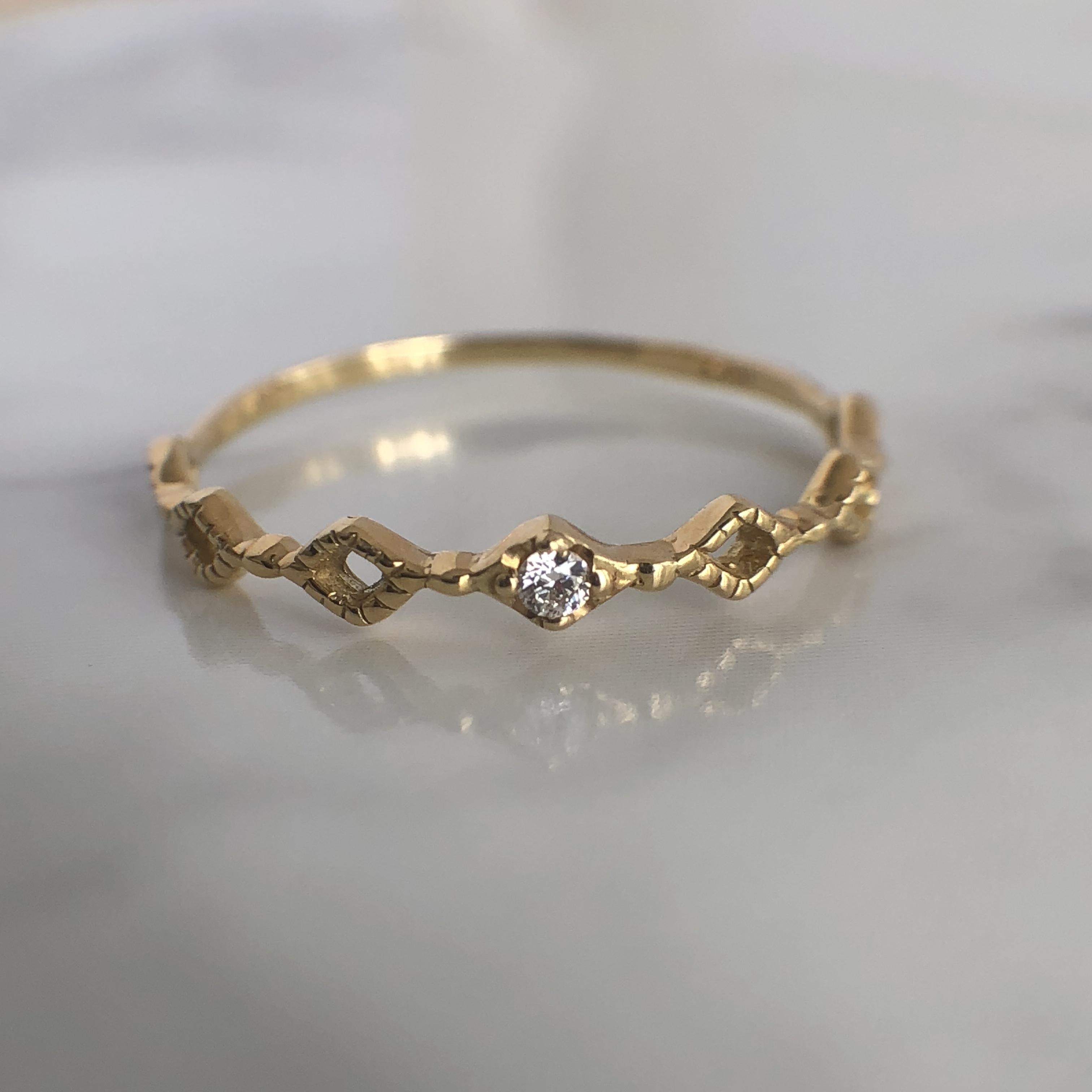 ダイヤモンド  ピンキー リング K18イエローゴールド   チェカ