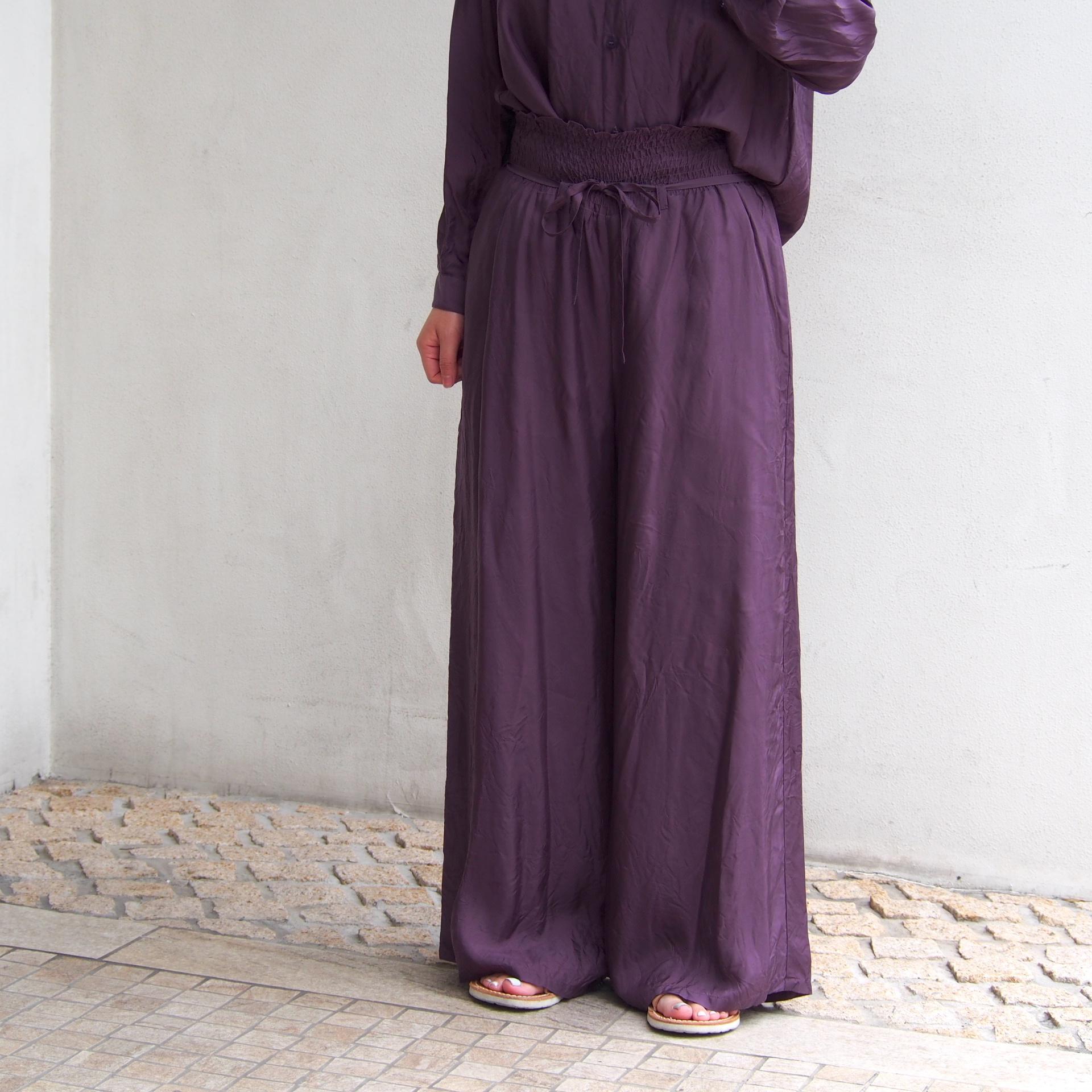 【hippiness】cupro shirring pants (122purple) /【ヒッピネス】キュプラシャーリングパンツ(122パープル)