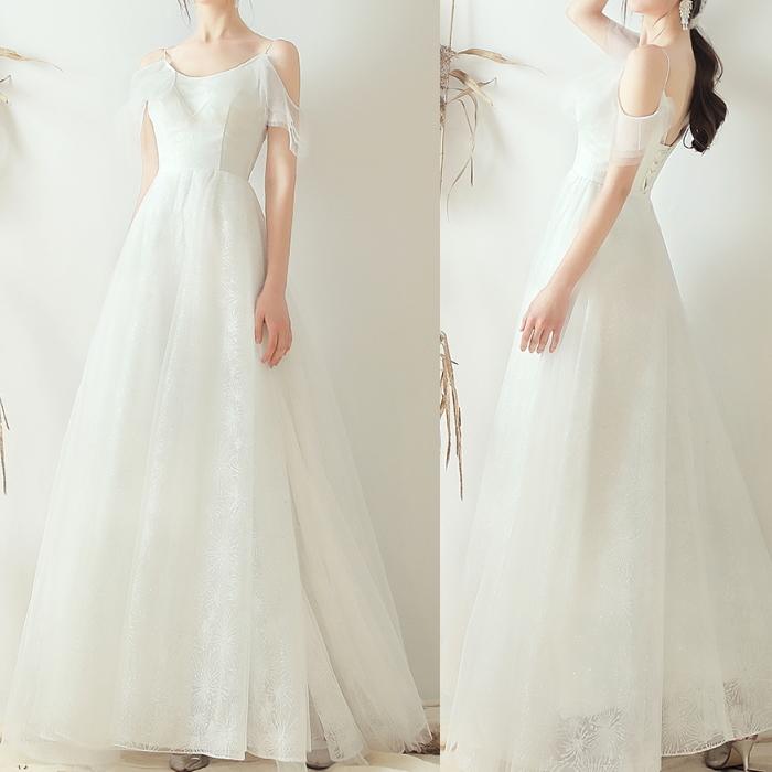ウエディングドレス キャミ フリル袖 ホワイト レースアップ