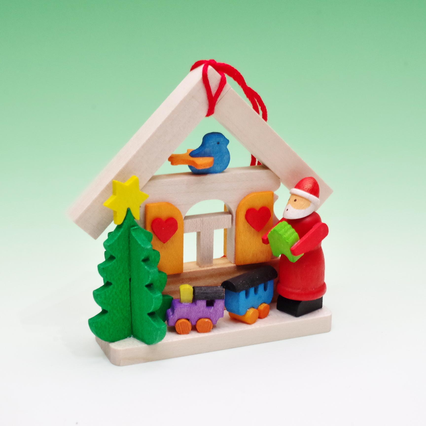 オーナメント サンタの家とおもちゃ