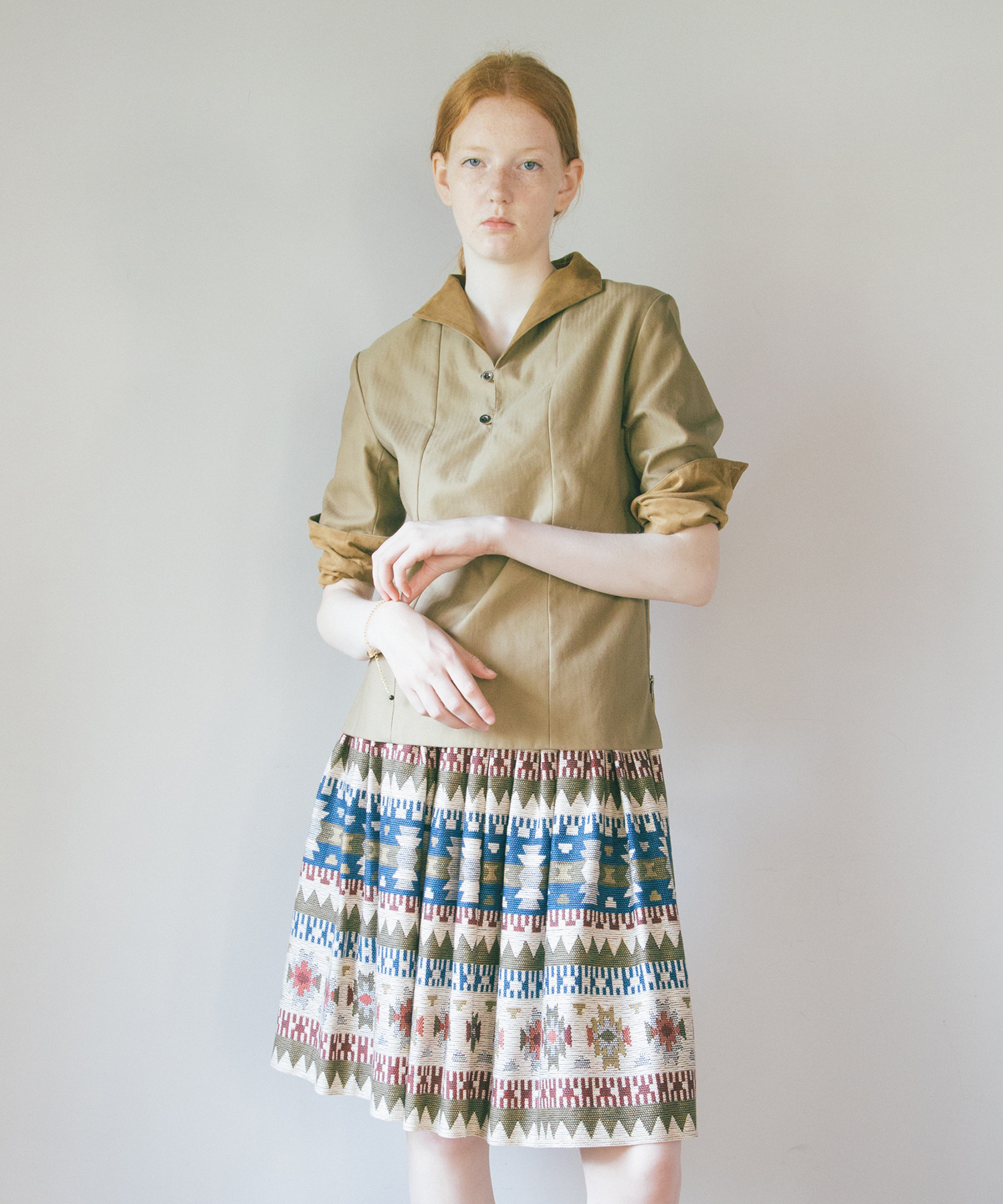 df17WT-15 NATIVE GATHER SKIRT (white)