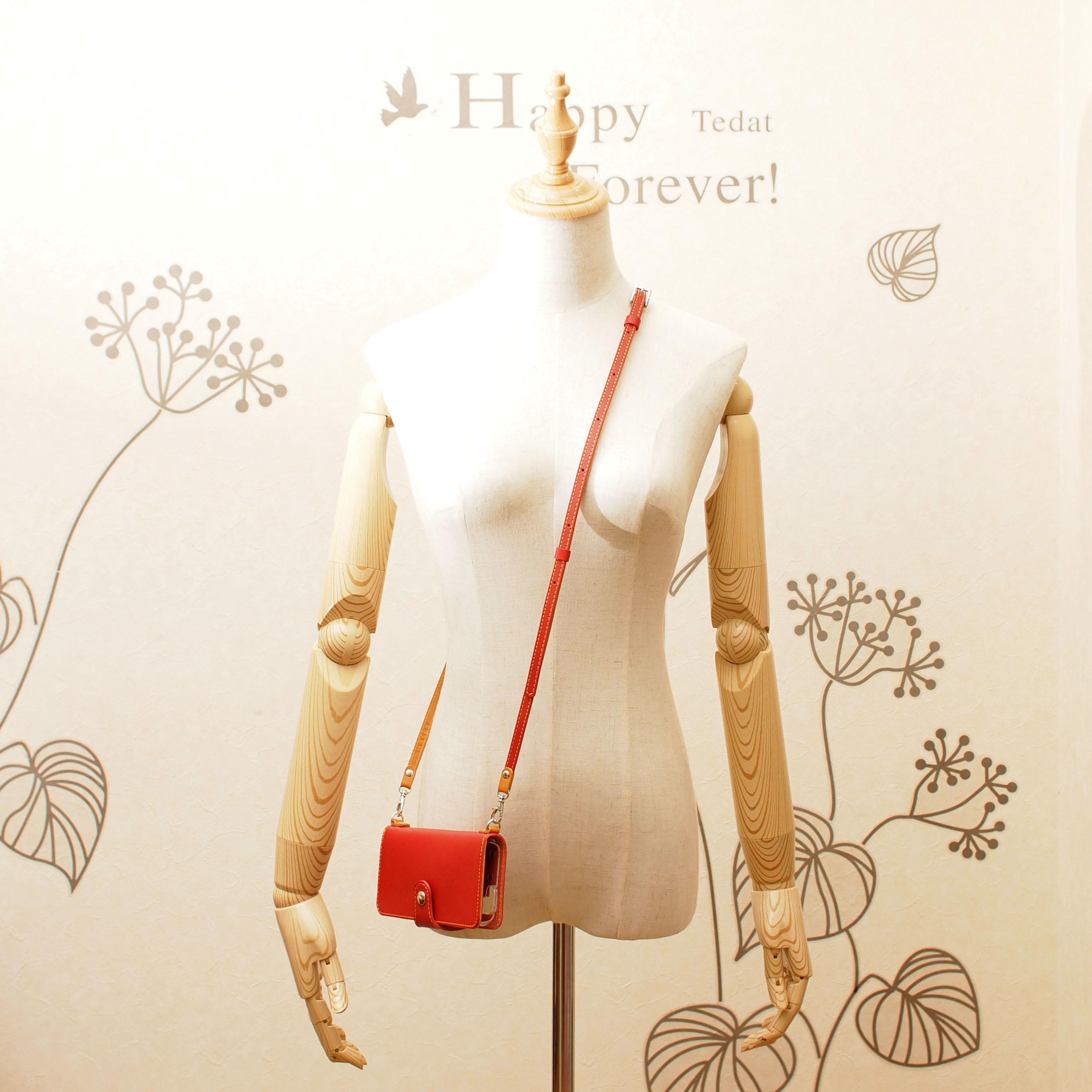 ななめがけショルダーベルト「革・糸・金具お好きなカラー」で製作◇長さ調整可能で可愛く肩掛け&首掛け