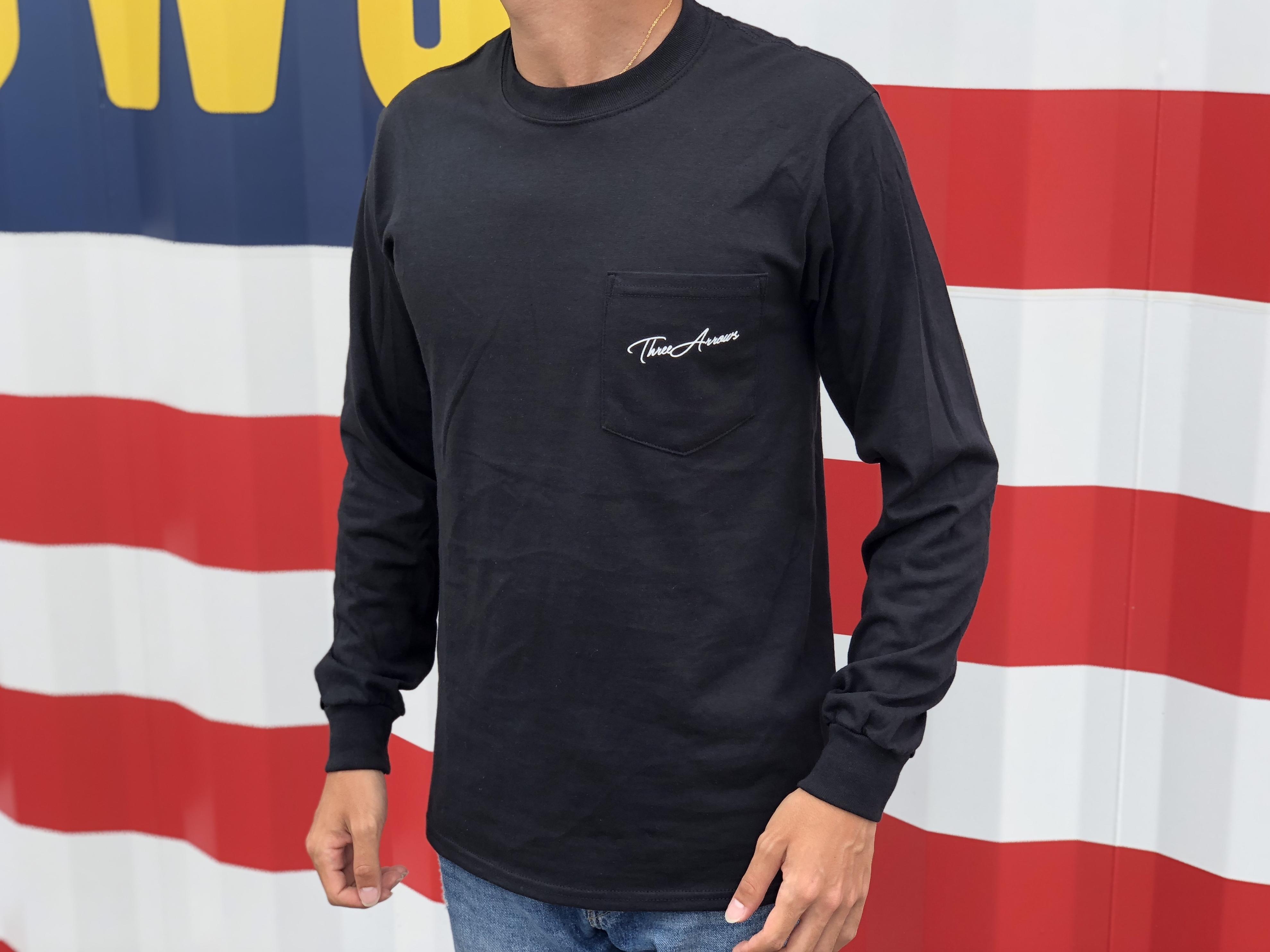ThreeArrows ポケット付きロングTシャツ(black)