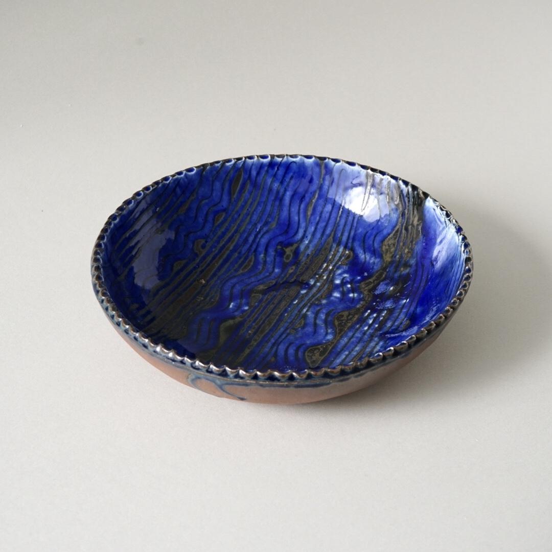 十場天伸 / スリップウェア ソーダ釉 8寸鉢