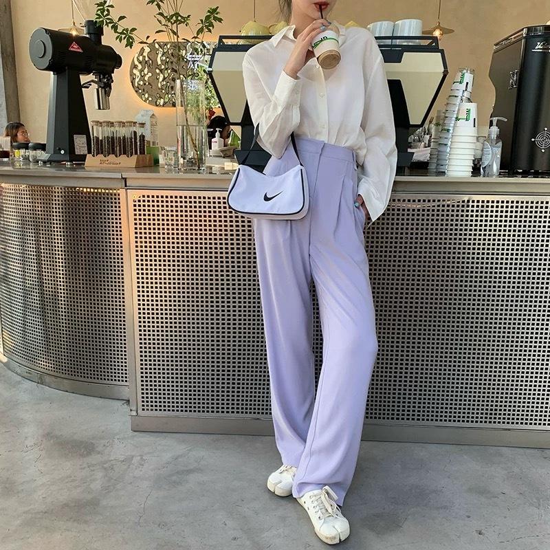 pastel purple over pants