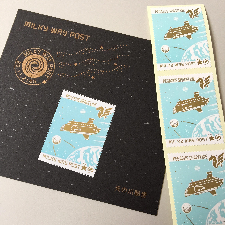 天の川郵便切手風シール・旅客宇宙船ペガススシップ