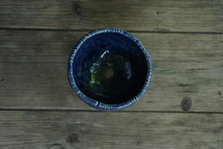 ルリ釉三足丸植木鉢②【ねぎし よねお】