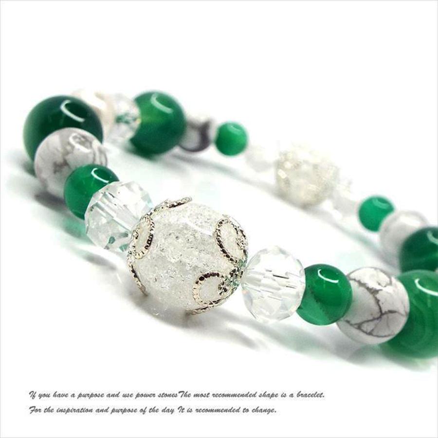 【愛情と絆を強くする】天然石 クラック水晶&グリーンメノウ デザインブレスレット(10mm)