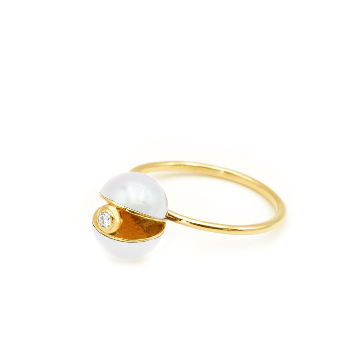 Pearl×Pearl Dia Ring(white)