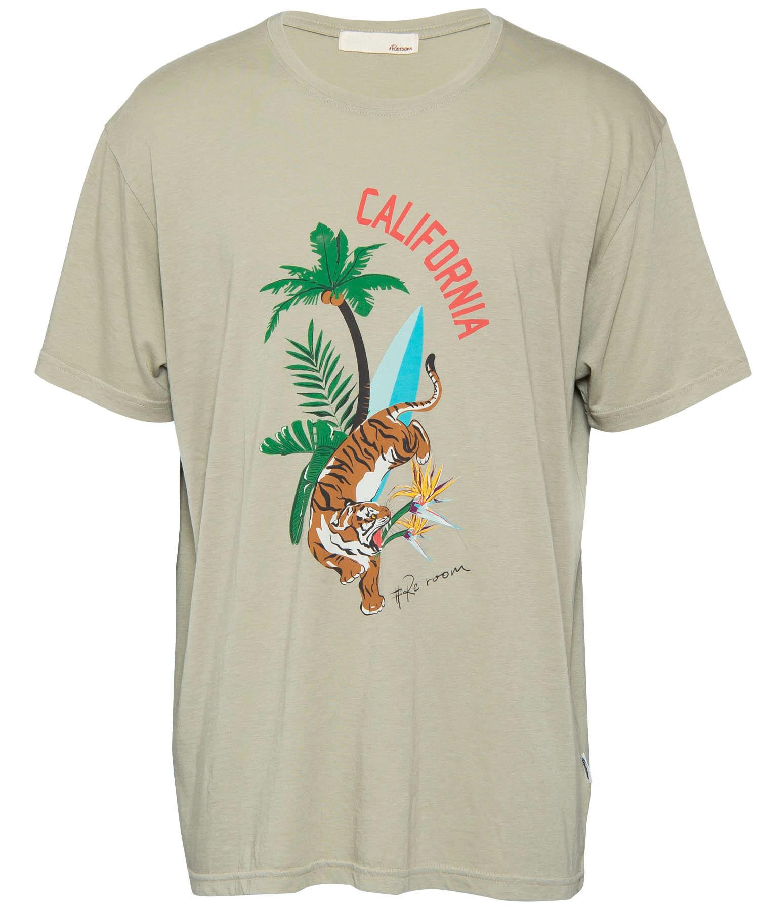 BOTANICAL TIGER PRINT VINTAGE T-shirt[REC299]