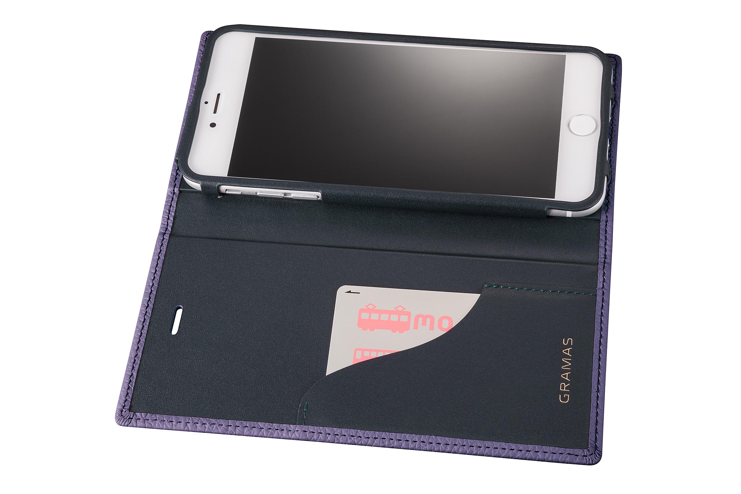 GRAMAS Shrunken-calf Full Leather Case for iPhone 7 Plus(Purple) シュランケンカーフ 手帳型フルレザーケース - 画像4