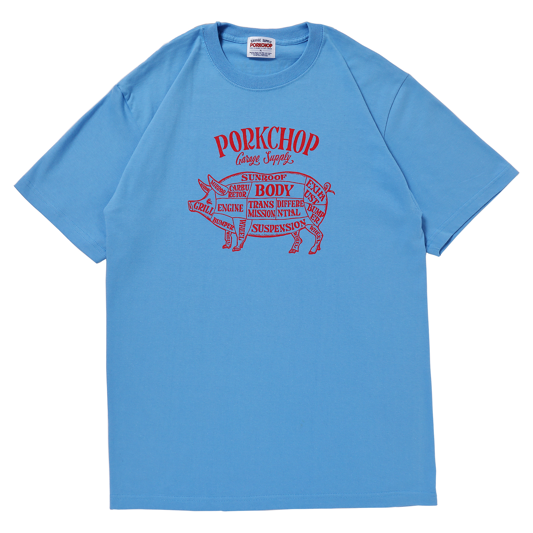 PORK FRONT S/S TEE/LIGHT BLUE×RED
