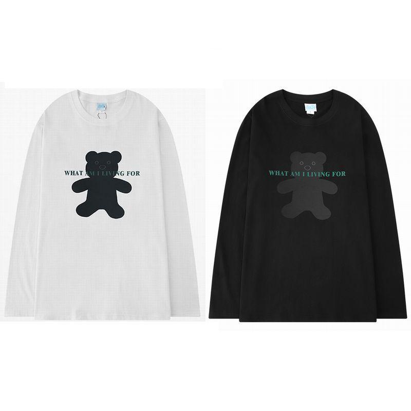 ユニセックス 長袖 Tシャツ メンズ レディース クマちゃん プリント オーバーサイズ 大きいサイズ ストリート