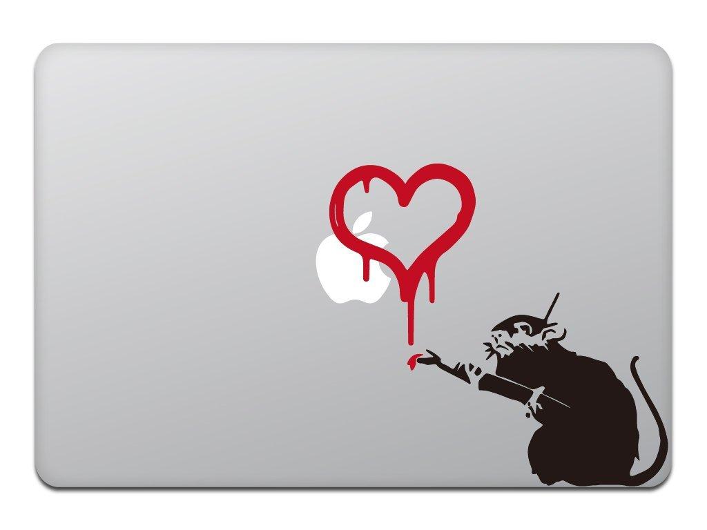 Macbook 対応 アートステッカ Banksy Love Rat 並行輸入品 ハートの