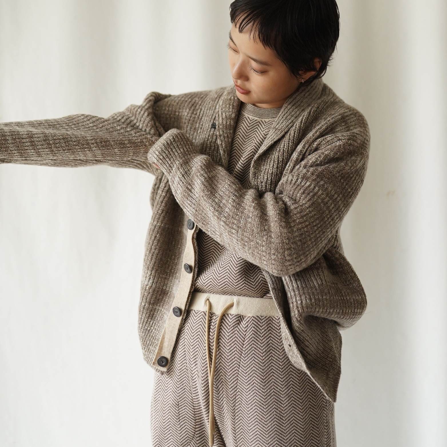 420008_Shawl Collar Cardigan(ベージュMix)
