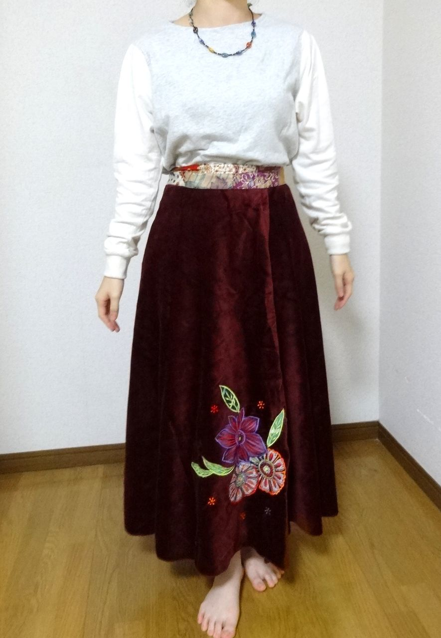 EMS-024MA ベルベット刺繍×シルク巻きスカート エンジ