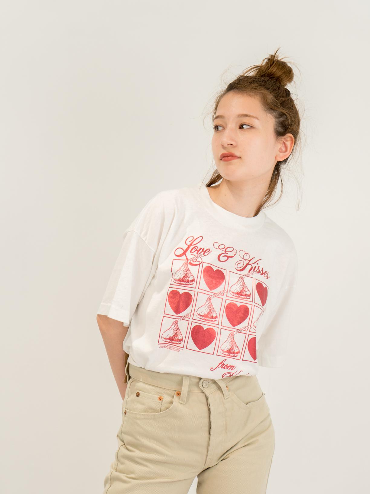 ◼︎'90 KISS CHOCOLATE metallic heart T-shirts from U.S.A.◼︎