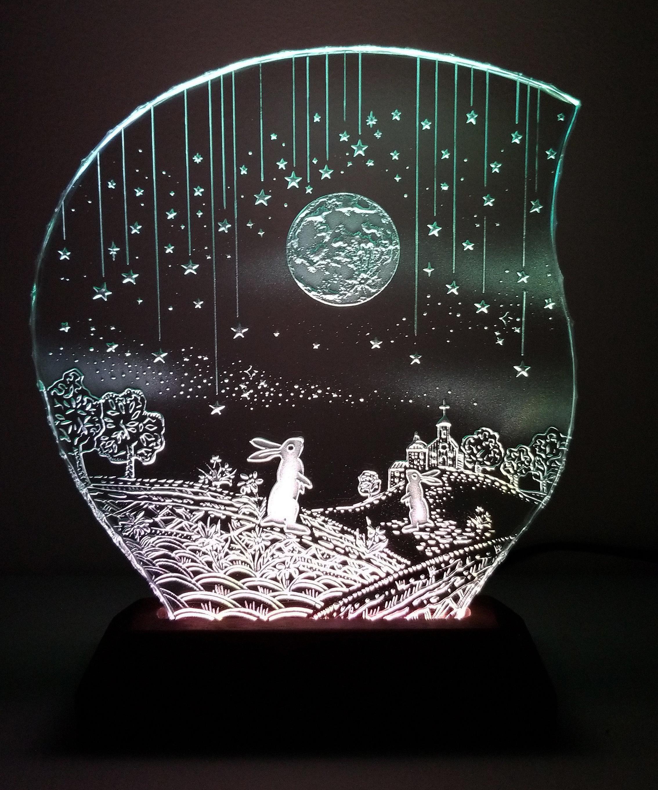 満月と2羽のウサギ ガラスエッチングパネル Mサイズ・LEDスタンドセット
