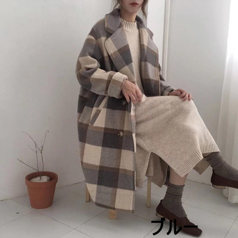 【送料無料】チェック柄♡ロング チェスターコート♡大人かわいい♡2カラー