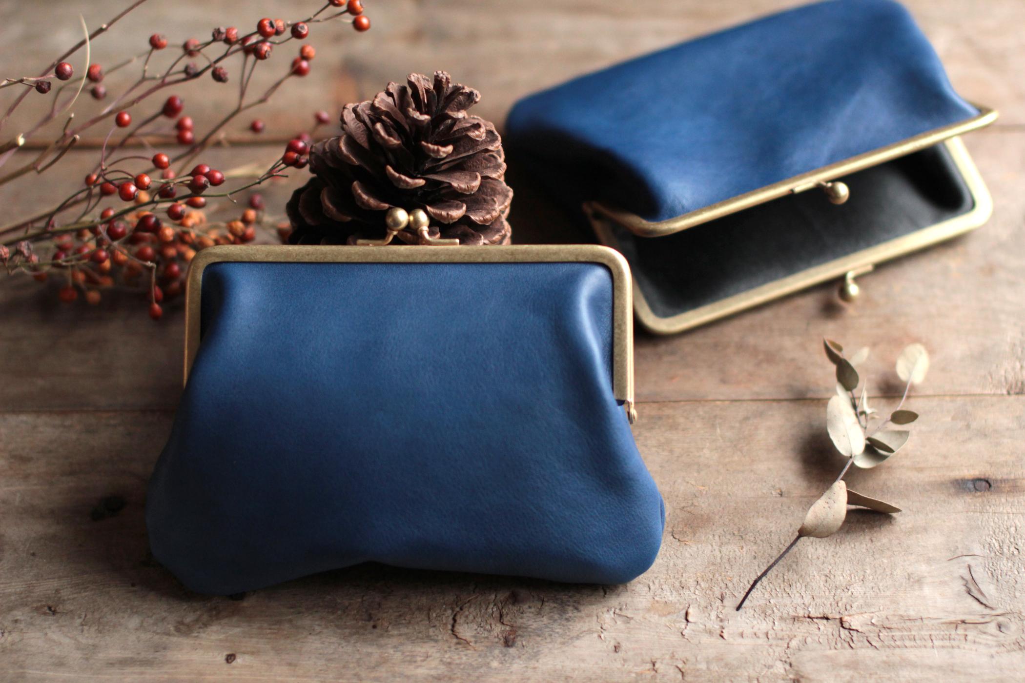 藍染革[migaki] 真鍮金具15cm がま口ポーチ
