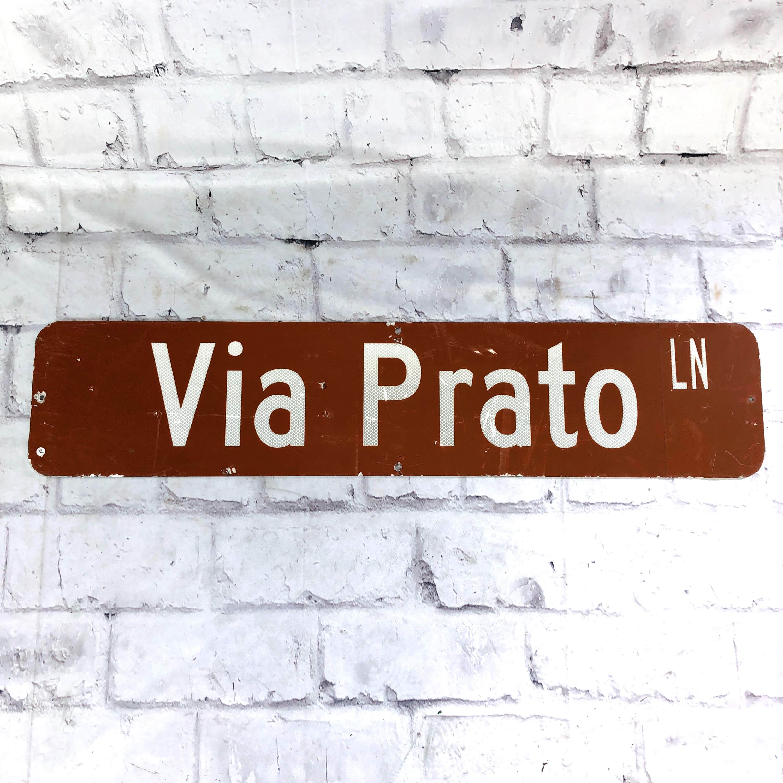 品番5759 ストリートサインプレート 『Via Prato』 壁掛 看板 スチール製 アメリカン雑貨 ヴィンテージ