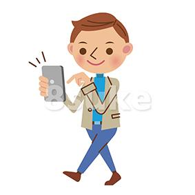 イラスト素材:歩きスマホをする私服の男性(ベクター・JPG)