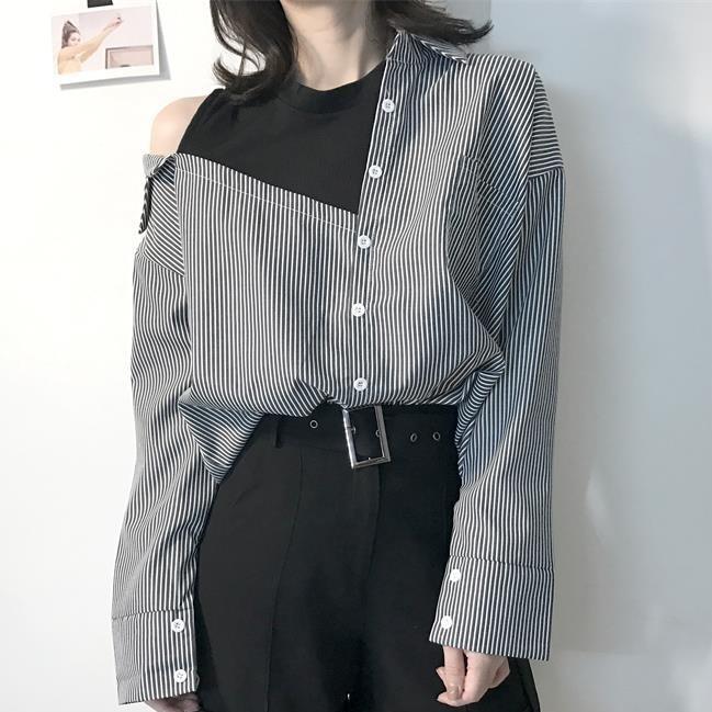 【tops】ストリートストライプ長袖POLOネックシャツ12946544