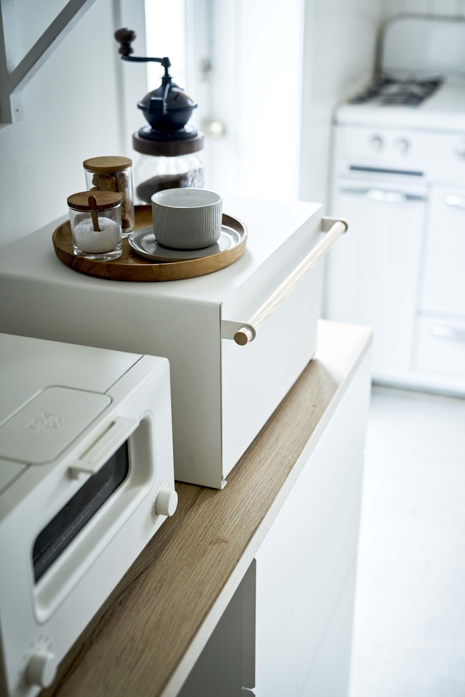 キッチンをスタイリッシュに!!キッチン廻りがスッキリするトースターラックナチュラル