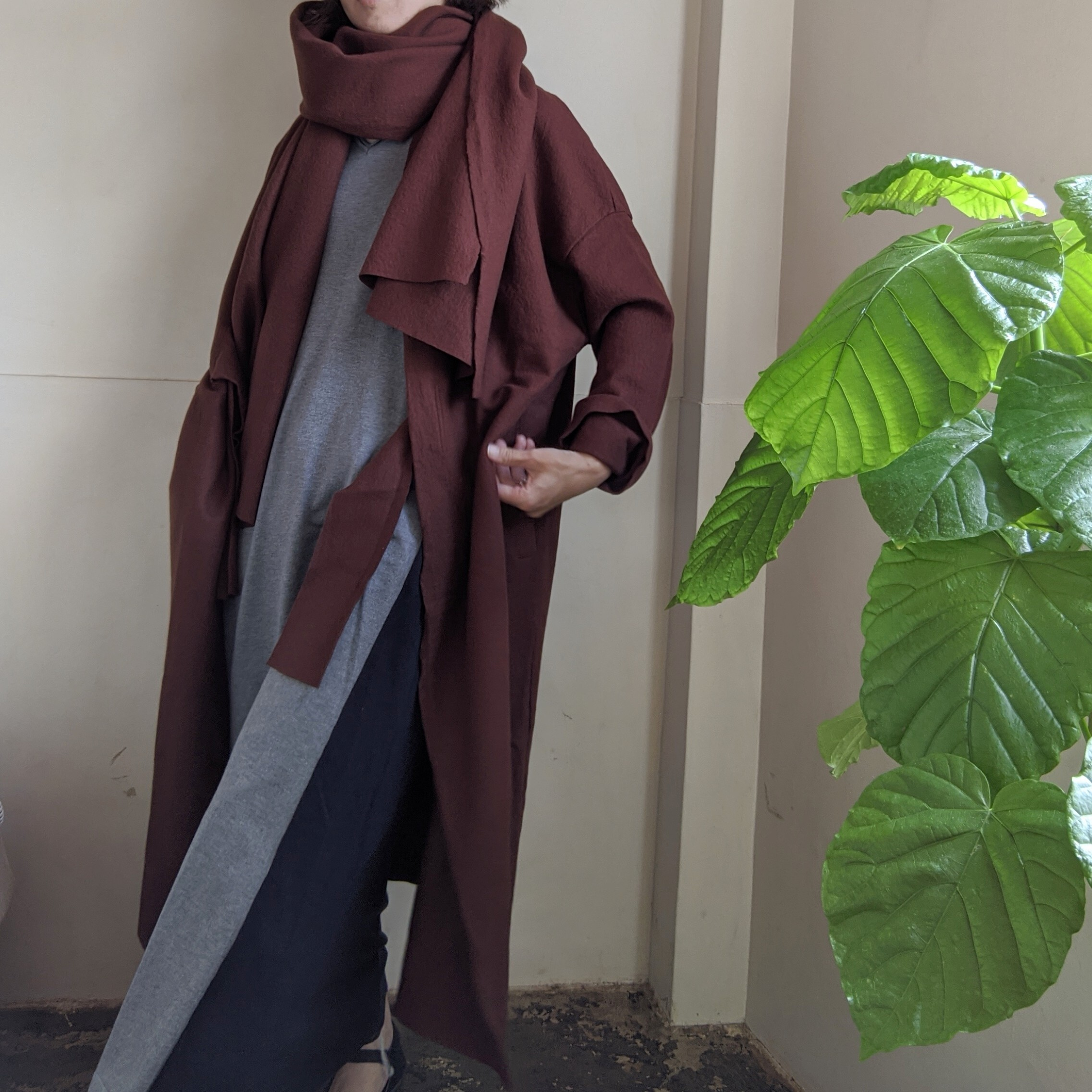 【 habille 】 gown coat / compressed wool / 圧縮ウール / ウールコート / RENGA