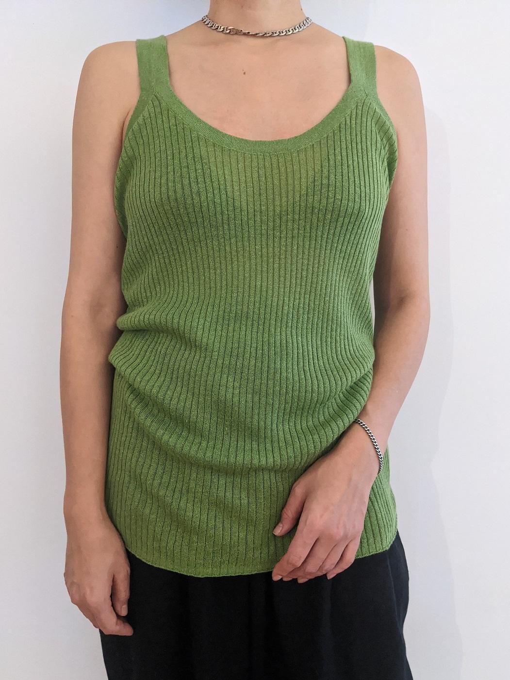 Rummy rib Tank top  - Bright green