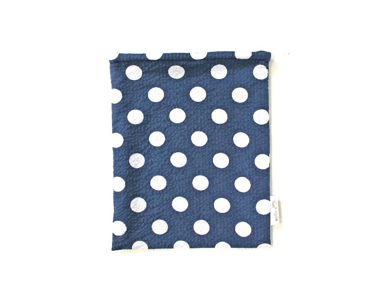 ハリネズミ用寝袋 M(夏用) 綿リップル×スムースニット 水玉 ネイビー