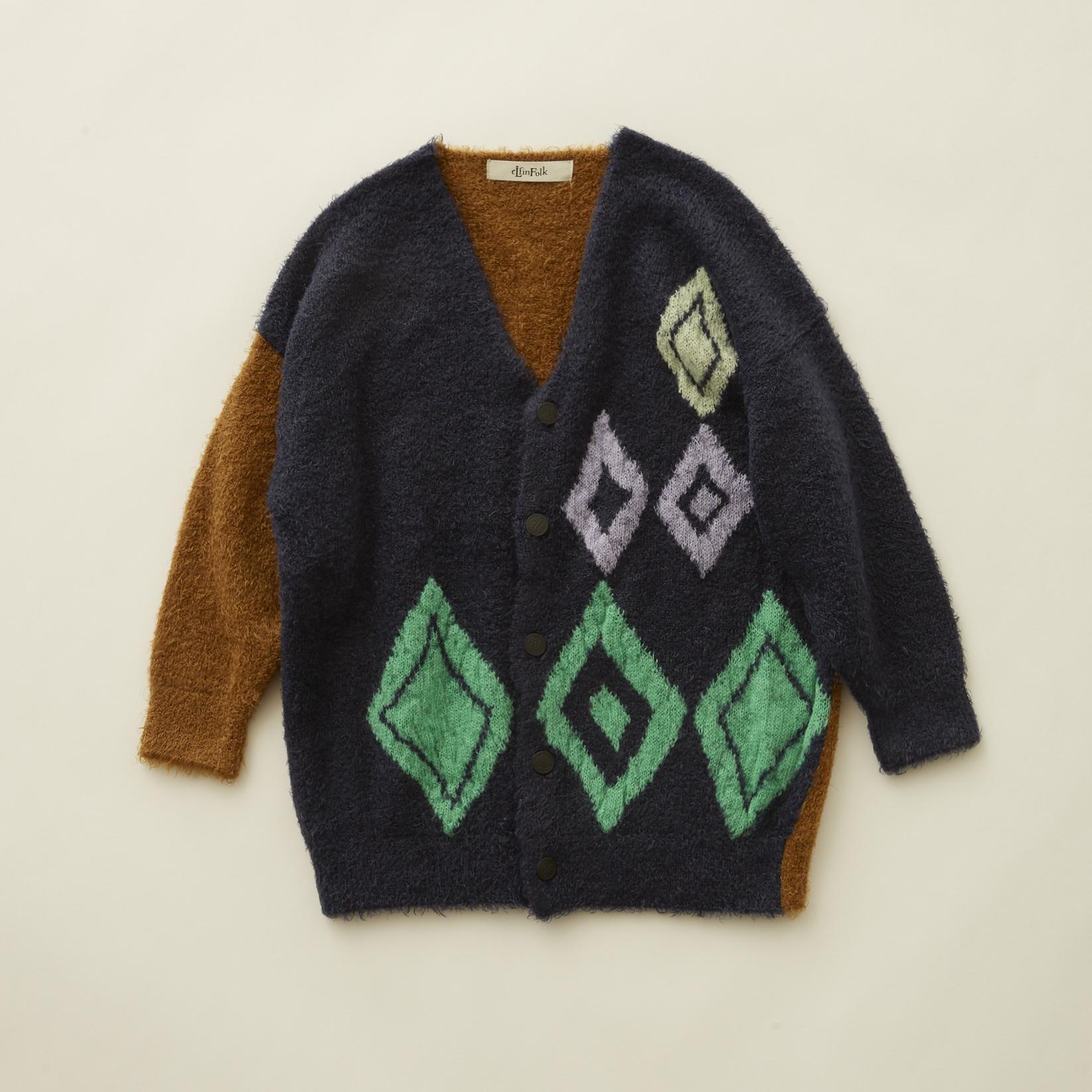 《eLfinFolk 2020AW》jura knit  cardigan / navy / 110・130cm