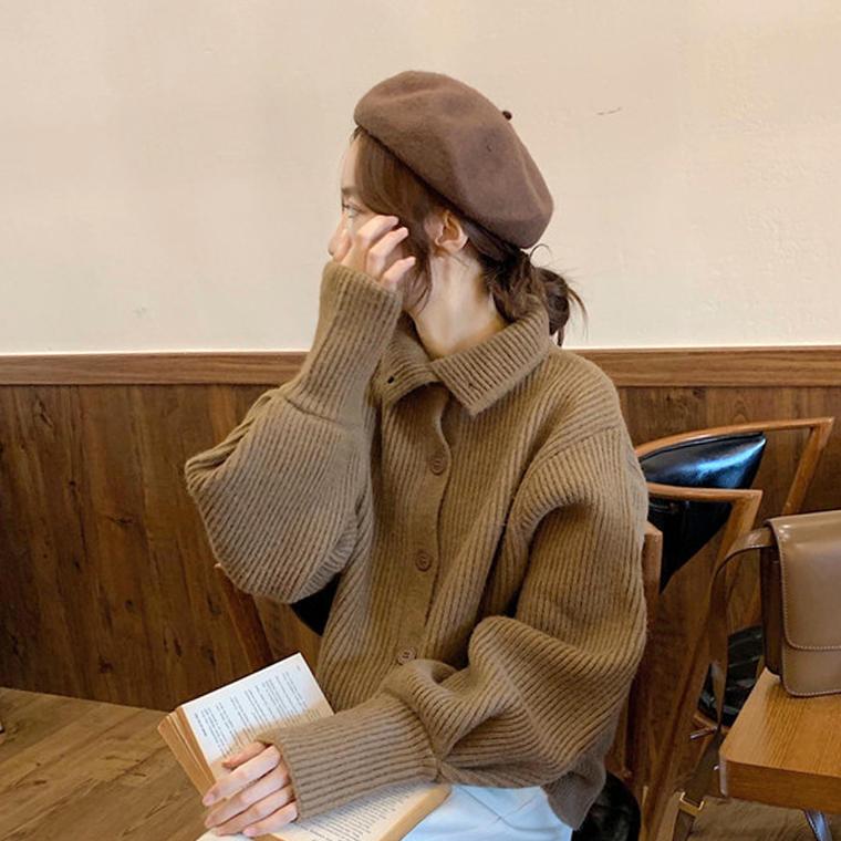 【送料無料】 2wayで着れる♡ 大人可愛い カジュアル ハイネック ポロ襟風 ニット カーディガン ボリューム袖