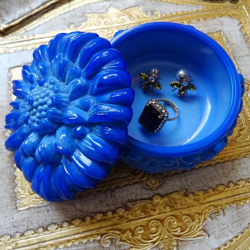 チェコスロバキア ボヘミアガラス ジュエリーポット ひまわり / ブルー