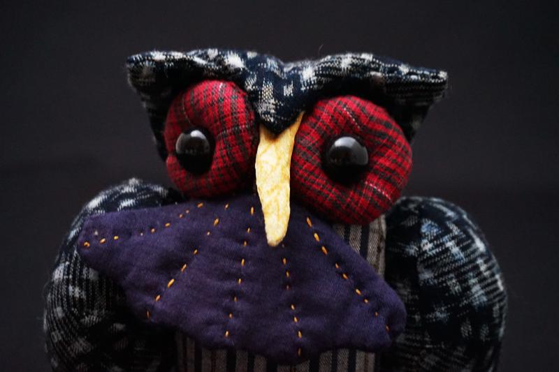 着物、和服の古布人形・縁起物「ふくろう」3 - 画像4