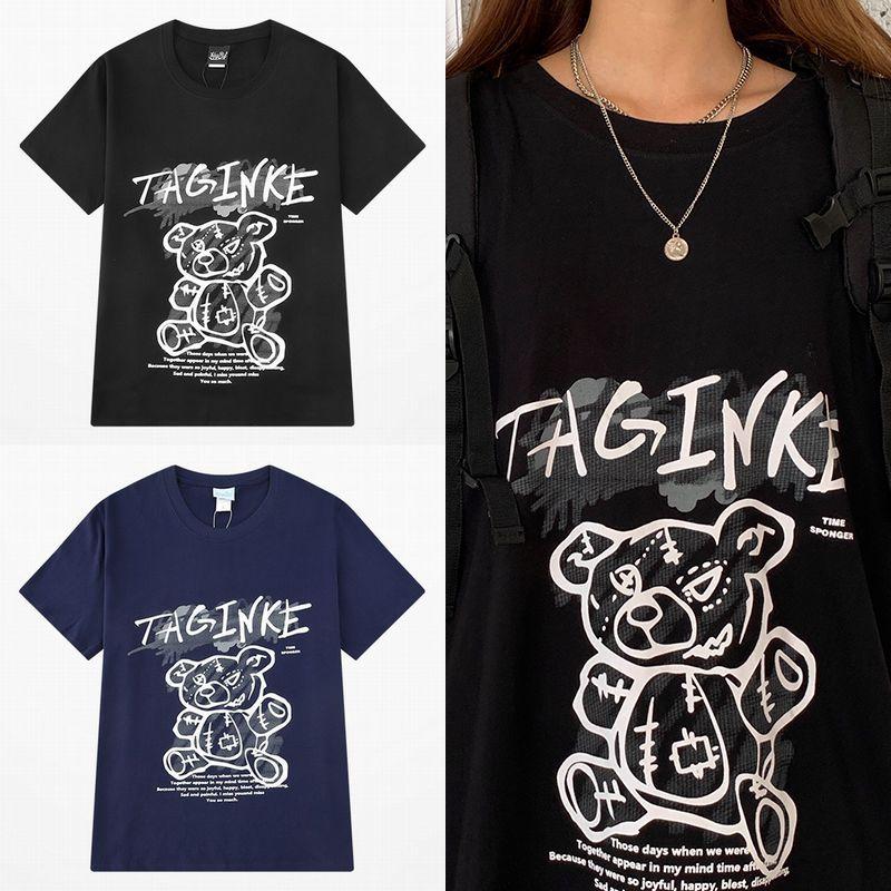 ユニセックス Tシャツ 半袖 メンズ レディース ラウンドネック 落書き ぬいぐるみ クマちゃん ベアー プリント オーバーサイズ 大きいサイズ ルーズ ストリート
