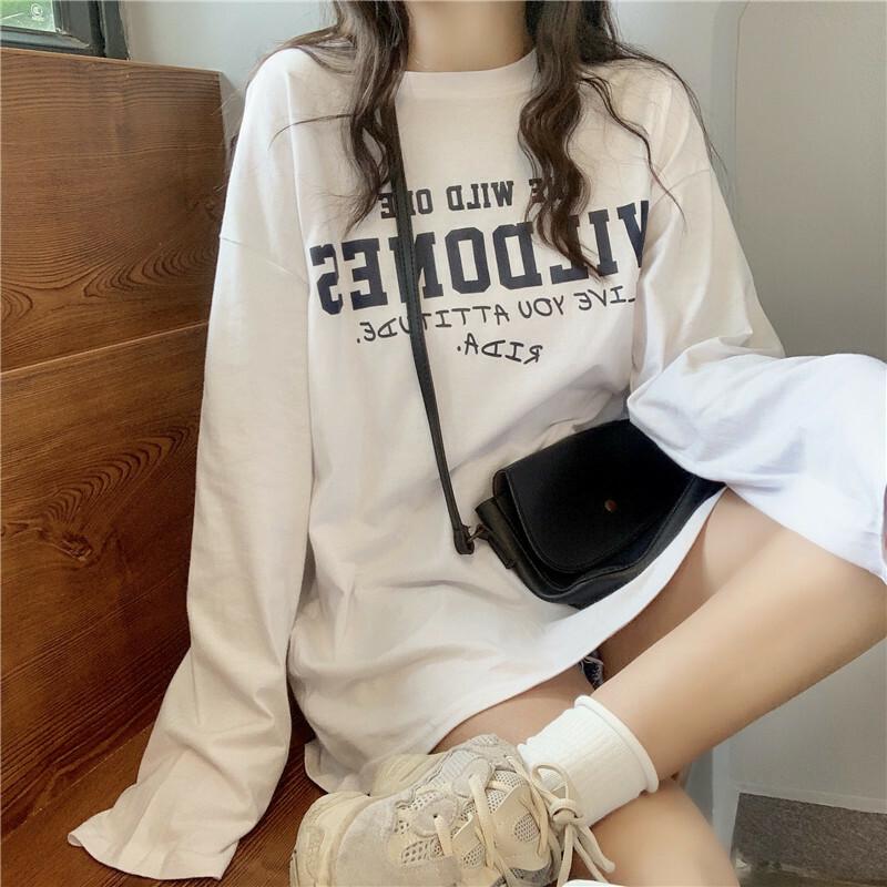 【送料無料】 ゆるだぼ♡ 英字ロゴ オーバーサイズ ロンT 長袖 Tシャツ ビッグシルエット プルオーバー
