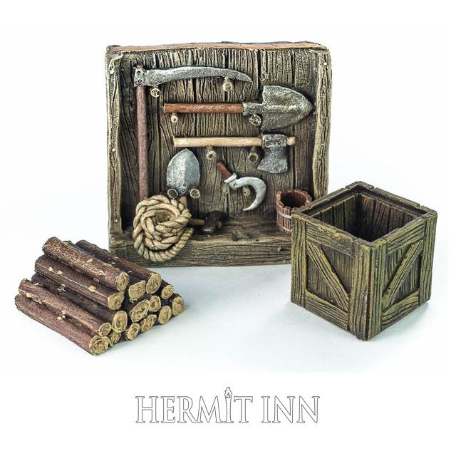 農具棚、薪、木箱セット - 画像1
