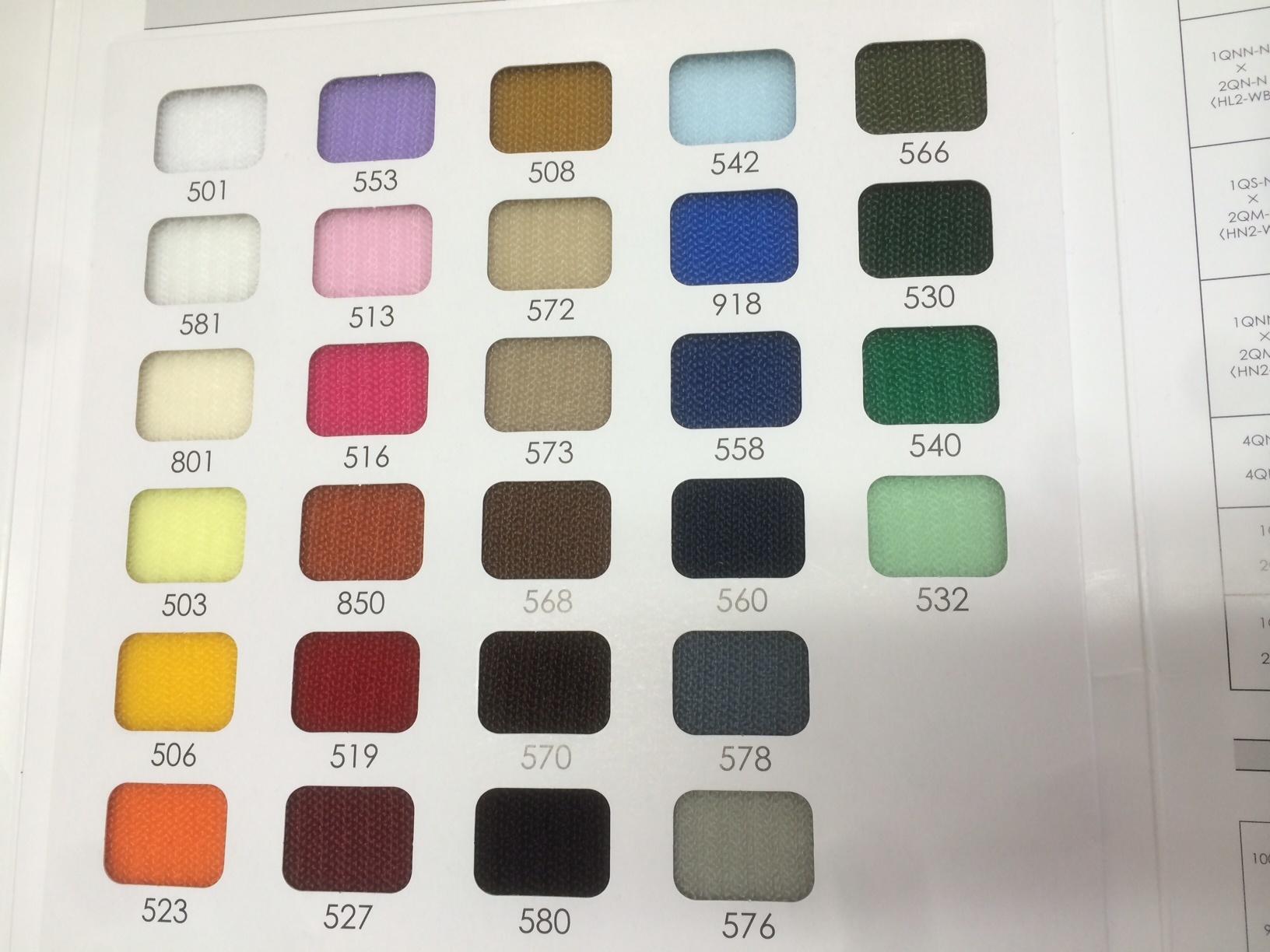 YKK クイックロン 1QNNと2QN フックとループのセット  黒と全カラー色 20㎜幅 1m
