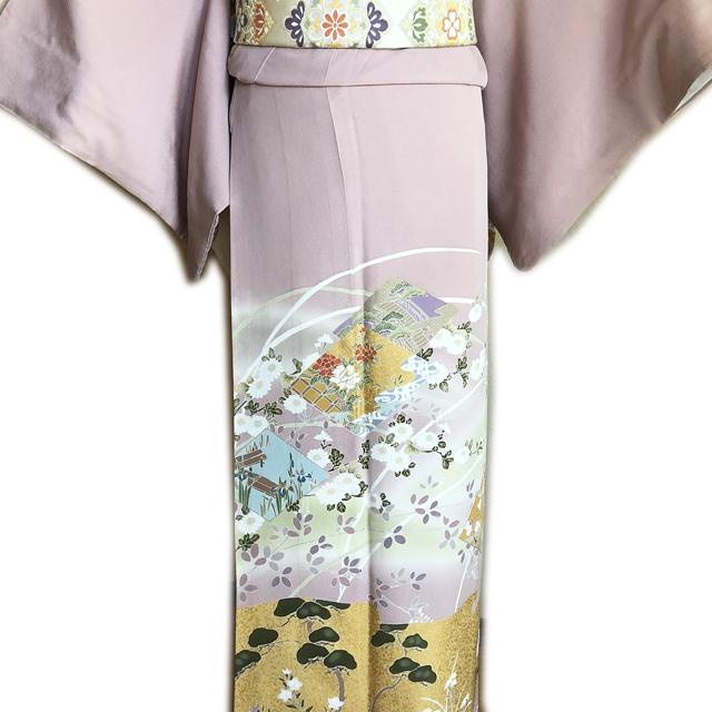 レンタル色留袖■押えた桃色地 牡丹や菖蒲金彩に松と桔梗柄■irotome4【往復送料無料】 - 画像1