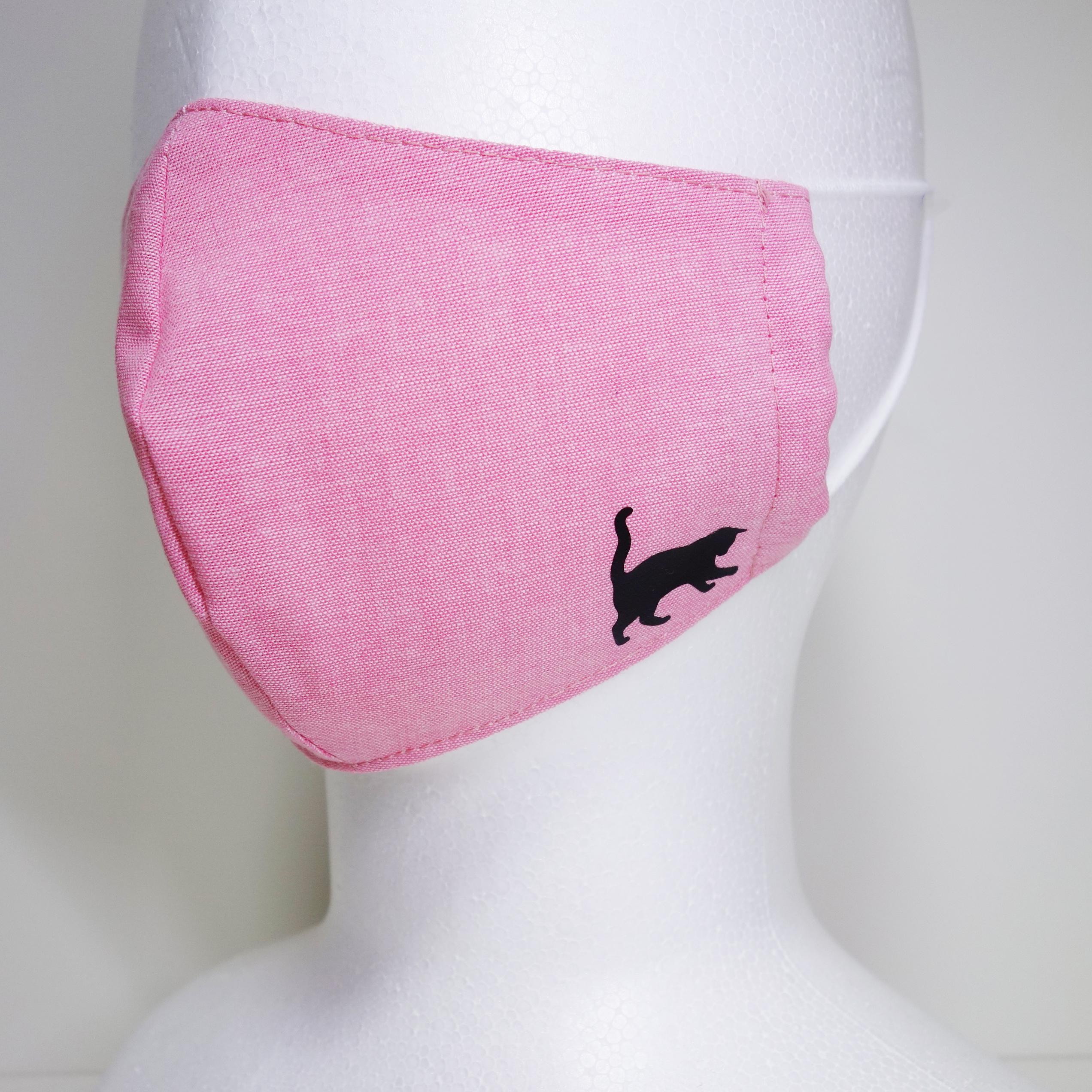 布マスク ネコ 猫 立体マスク ピンク 大人サイズ