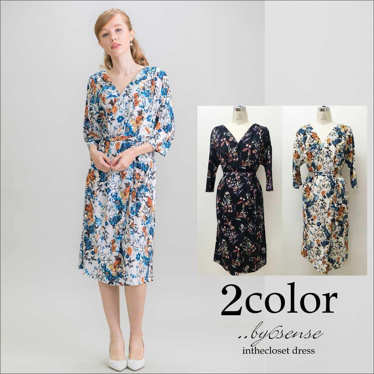 WEB限定価格 Jersey花柄ワンピース・ドレス■Bou Jeloud(ブージュルード)