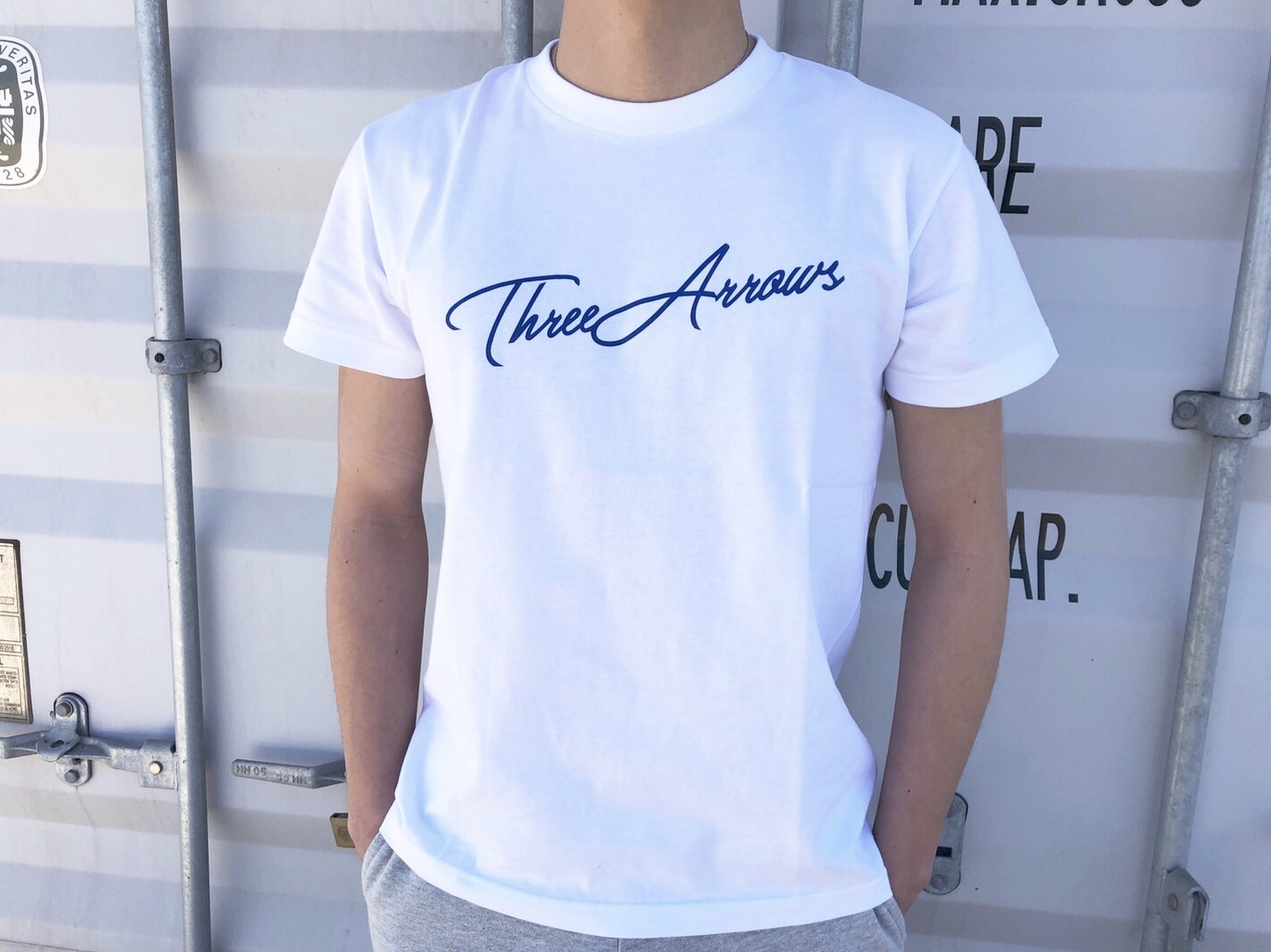 ThreeArrows Tシャツ(white×blue)